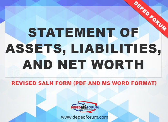 Revised Saln Form Statement Of Assets Liabilities And Net Worth