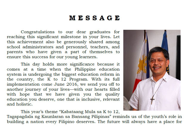 2016 Graduation Message of Secretary Br. Armin Luistro FSC