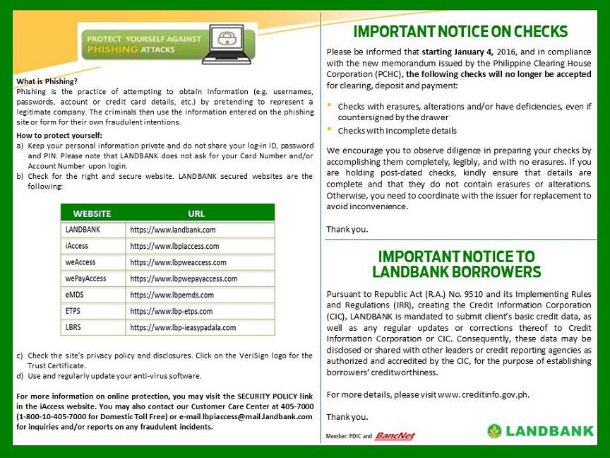 Landbank iAccess Account Security Tips