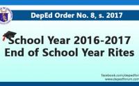 School Year 2016-2017 End of School Year Rites