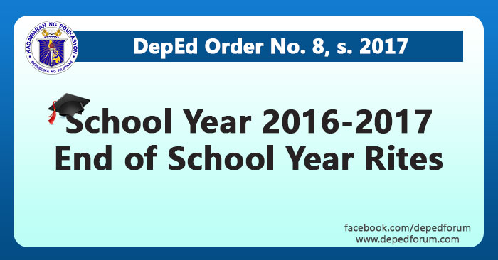 School Year 2016-2017 End of School Year Rites